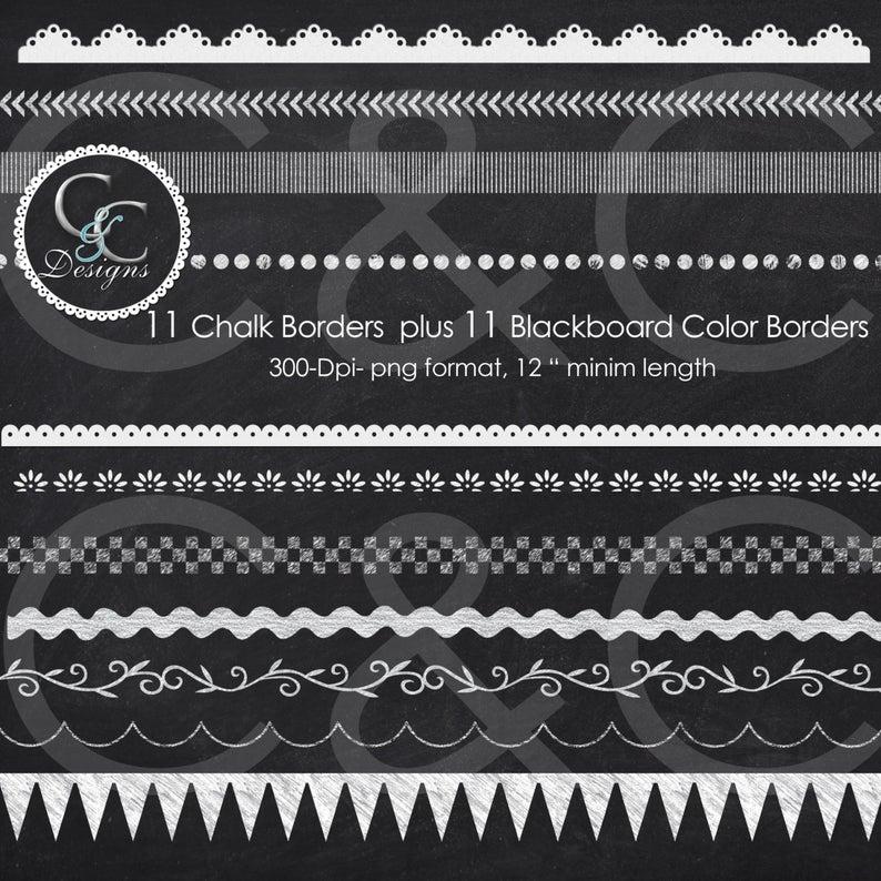 22 Chalkboard Borders Clip Art Pack.