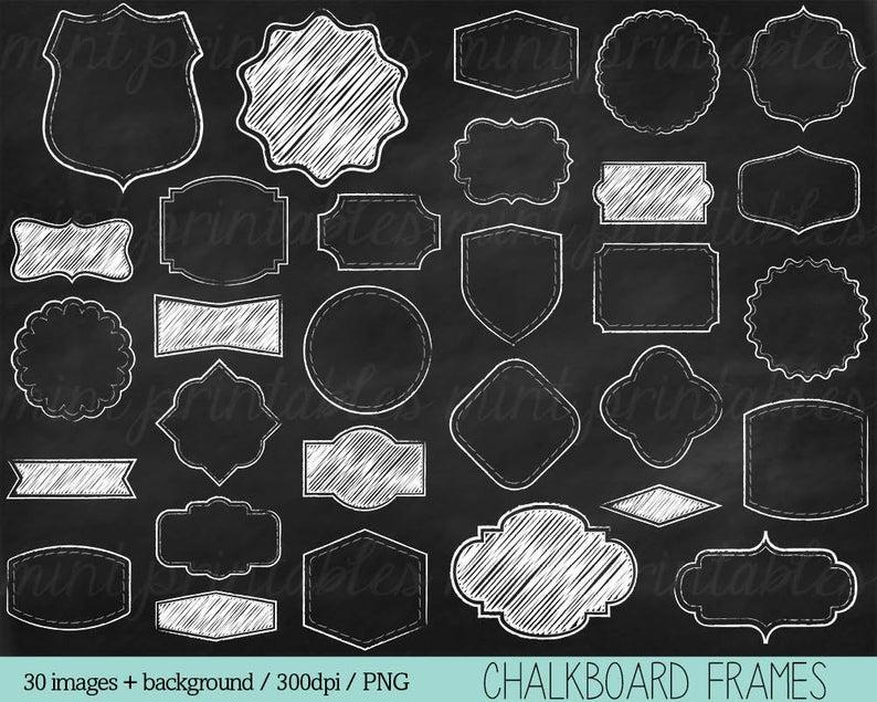 Chalkboard Frames Clipart, Chalk Clipart, Clip Art Borders, Chalk board  Clipart, Doodle frames.