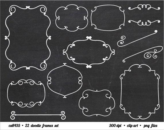Chalkboard Doodle Frame Border Clipart.