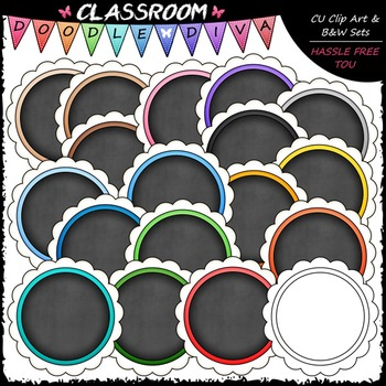 Scalloped Chalkboard Circles Clip Art.