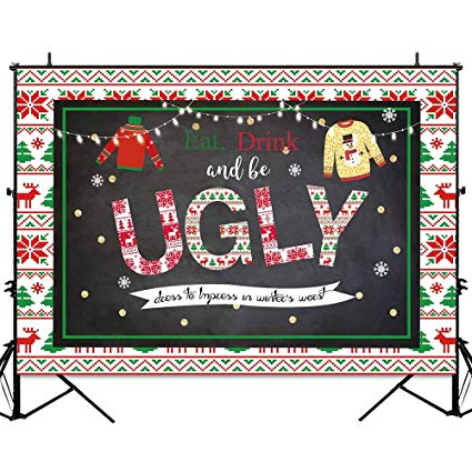 Allenjoy 7x5ft Christmas Ugly Sweater Party Backdrop Tacky Chalkboard  Winter Holiday Decorations Background for Photography Gold Glitter  Blackboard.