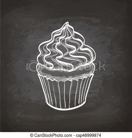 Cupcake sketch on chalkboard..