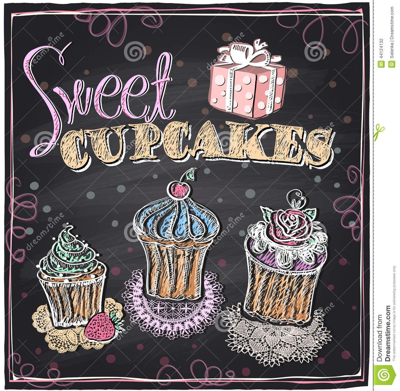 Sweet cupcakes chalkboard. stock vector. Illustration of.