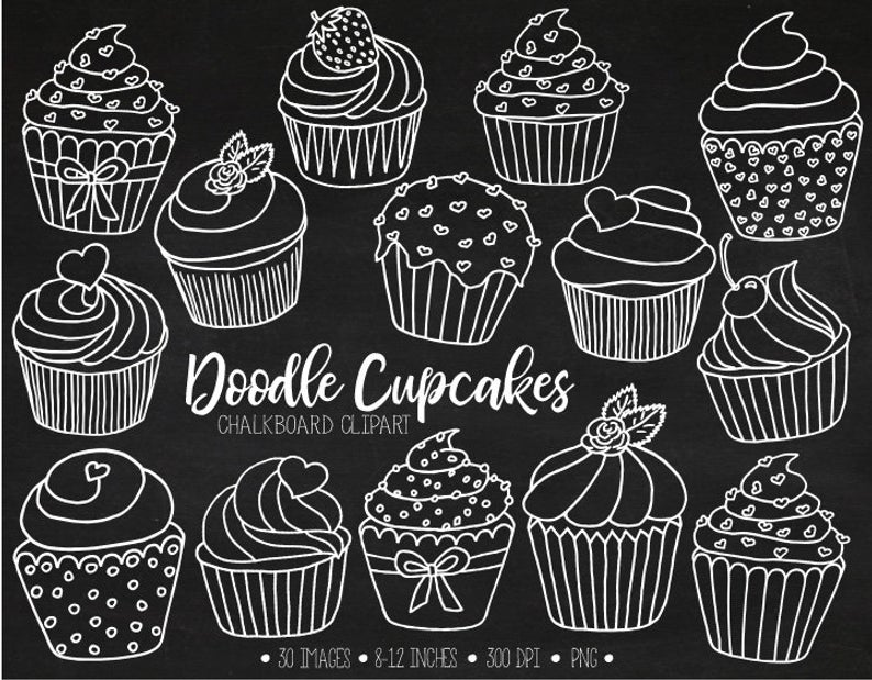 Chalkboard Cupcake Clipart. Hand Drawn White Cupcake Outlines. Chalk  Cupcake Illustrations. White Valentines, Mothers Day Clip Art.