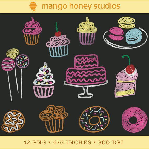 Digital Chalkboard Clipart, Bakery Clip Art, Cupcake Clipart, Cake.