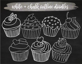 Hand Drawn Chalkboard Cupcake Clipart. White Chalk Cupcake Outlines.