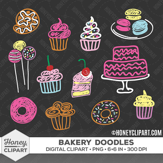 Cupcake clipart, chalkboard clipart, cupcake clip art, bakery.
