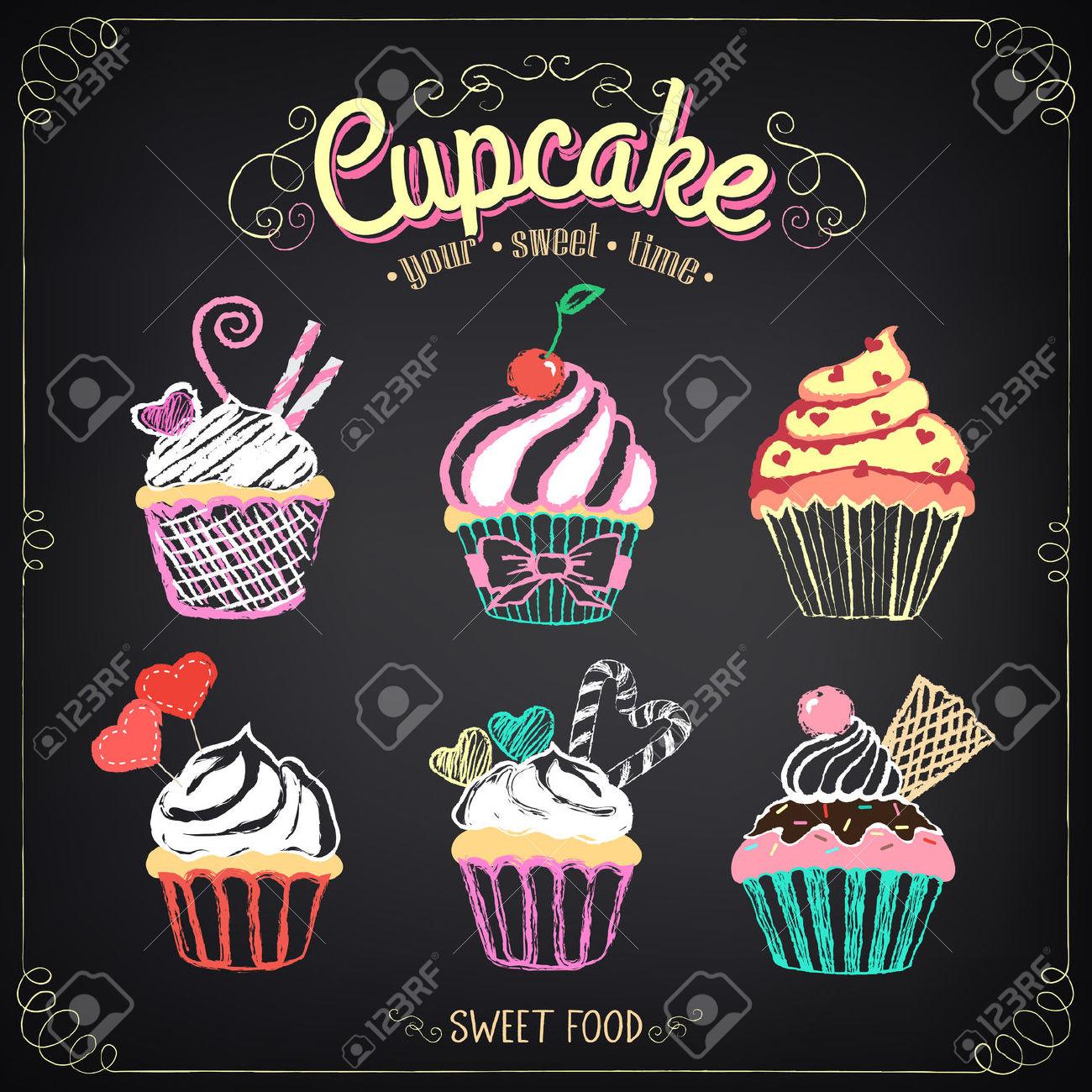 Chalkboard cupcake clipart.