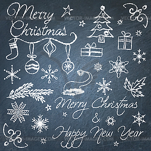 Christmas chalkboard elements.