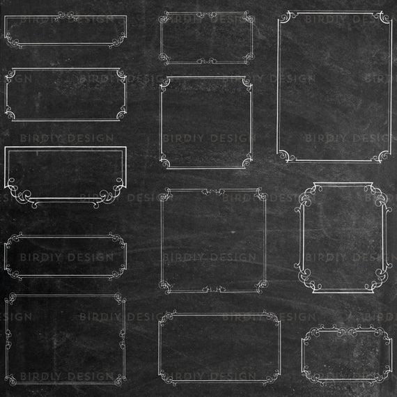 Chalkboard Frames Clipart Bundle.