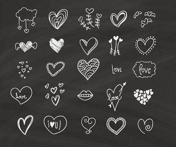 Chalkboard Hearts Clip Art.