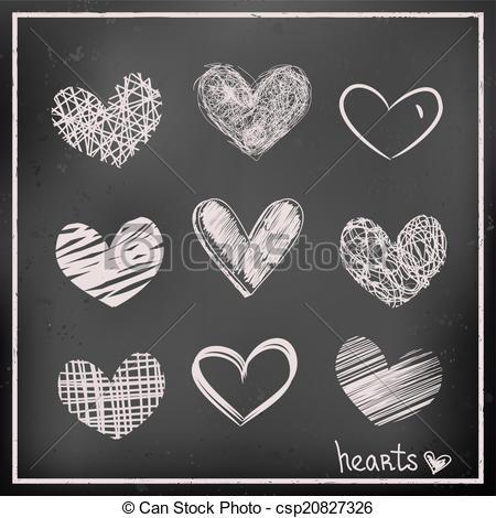 Hand draw hearts on chalkboard.