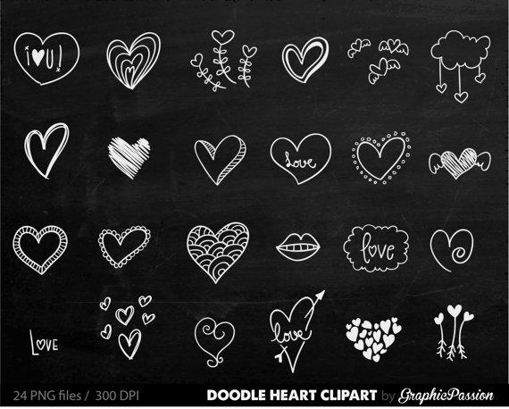 Chalkboard Hearts Clip Art Hand Drawn Clip Art Digital Hearts.