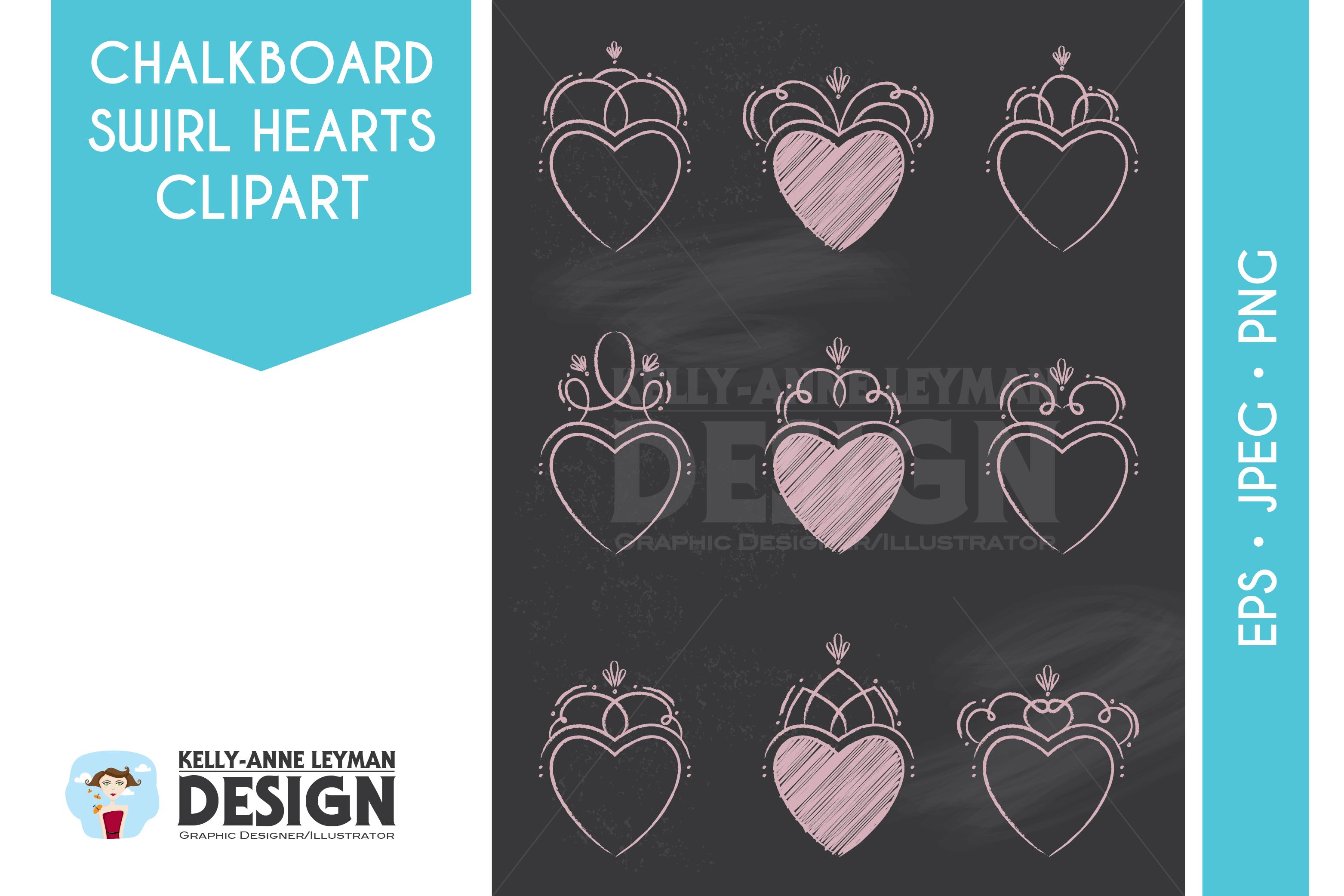 Chalkboard Swirl Hearts Label Clipart, Love, Flourishes.