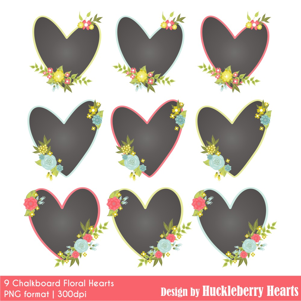 Chalkboard Hearts Clipart.