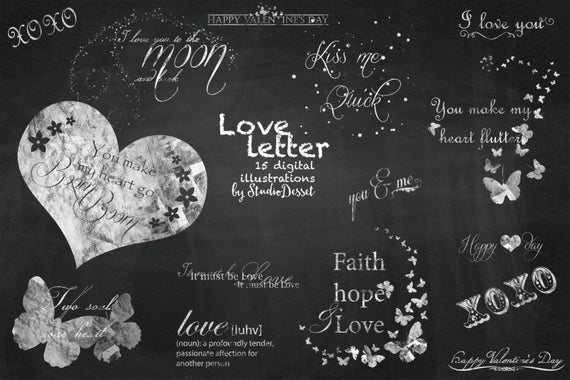 Love Cliparts Chalkboard, Valentine Chalk, Valentines Clipart, Photography  Overlays, Chalk Weddings, Heart Cliparts Butterfly C154.