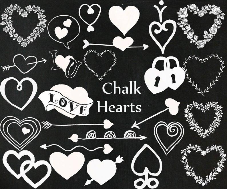 Chalkboard hearts clipart: