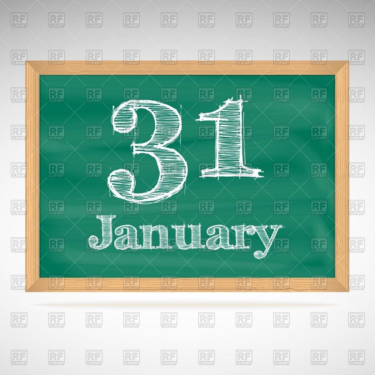 Chalkboard January Clipart.