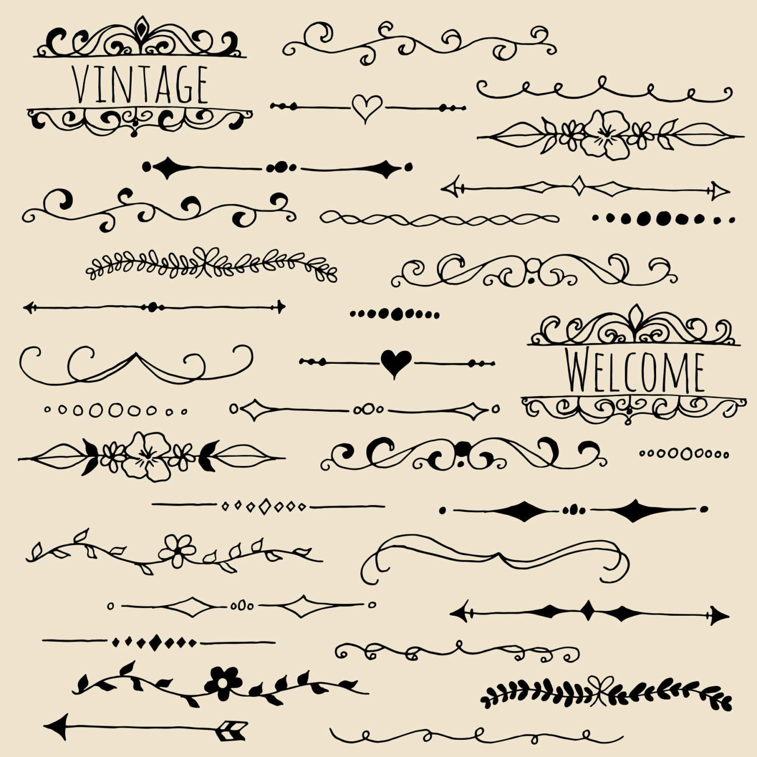 CLIP ART: Chalkboard Text Dividers // Plus Photoshop Brushes.