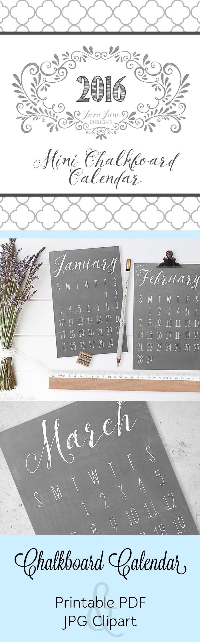 2016 Printable Desk Calendar.