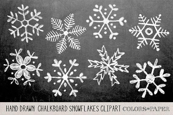 Schoolbord Hand getrokken sneeuwvlokken Clipart, Photoshop.