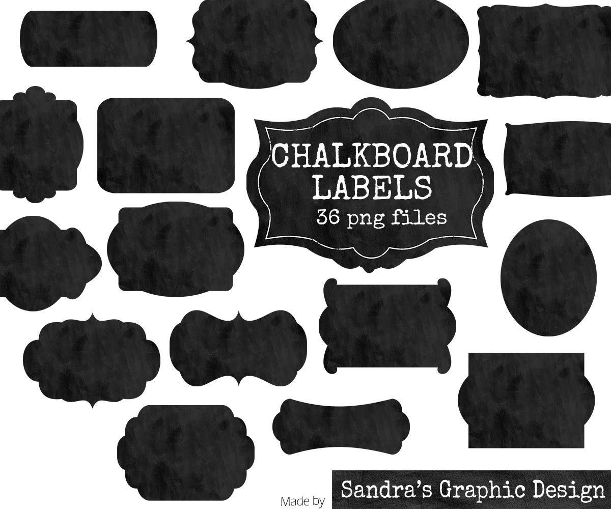 "Clip art: ""CHALKBOARD TAGS"" with 18 black chalkboard labels clipart."