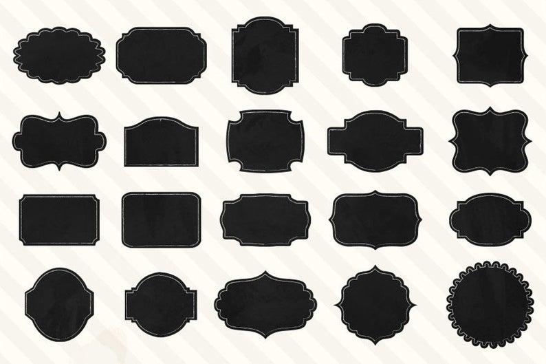 40 Chalkboard Labels, Chalkboard Frames, Chalk Tags.