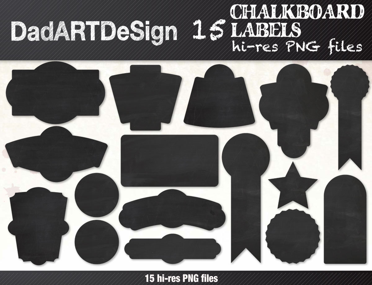 Chalkboard labels clipart kit.