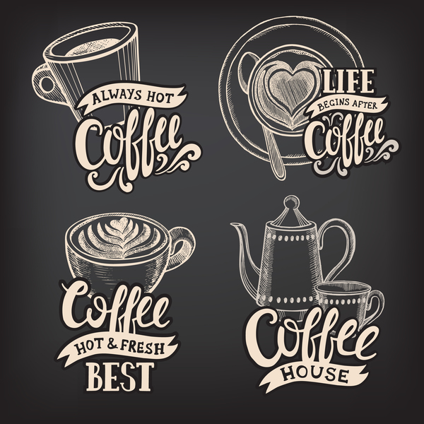 Coffee logos design with chalkboard background vector 04.