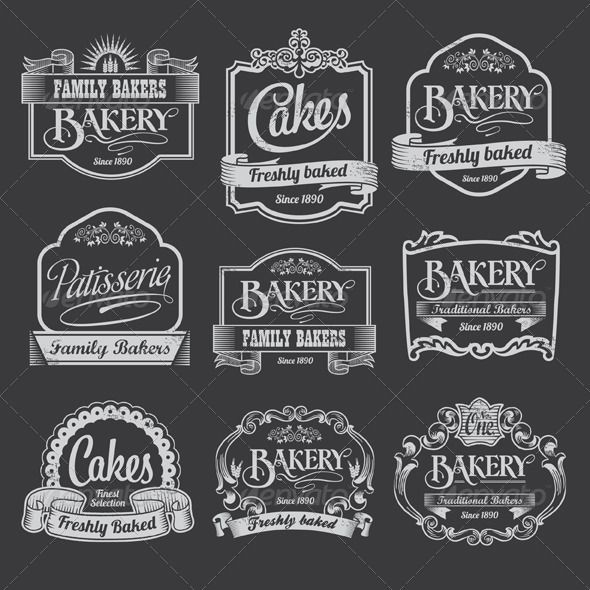 Chalkboard Bakery Vector Banner and Label.
