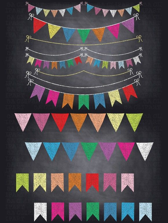 Chalkboard Bunting Banner Clipart . Printables. $10.00.