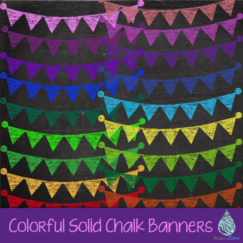 Colorful Solid Chalk Banner Clipart.