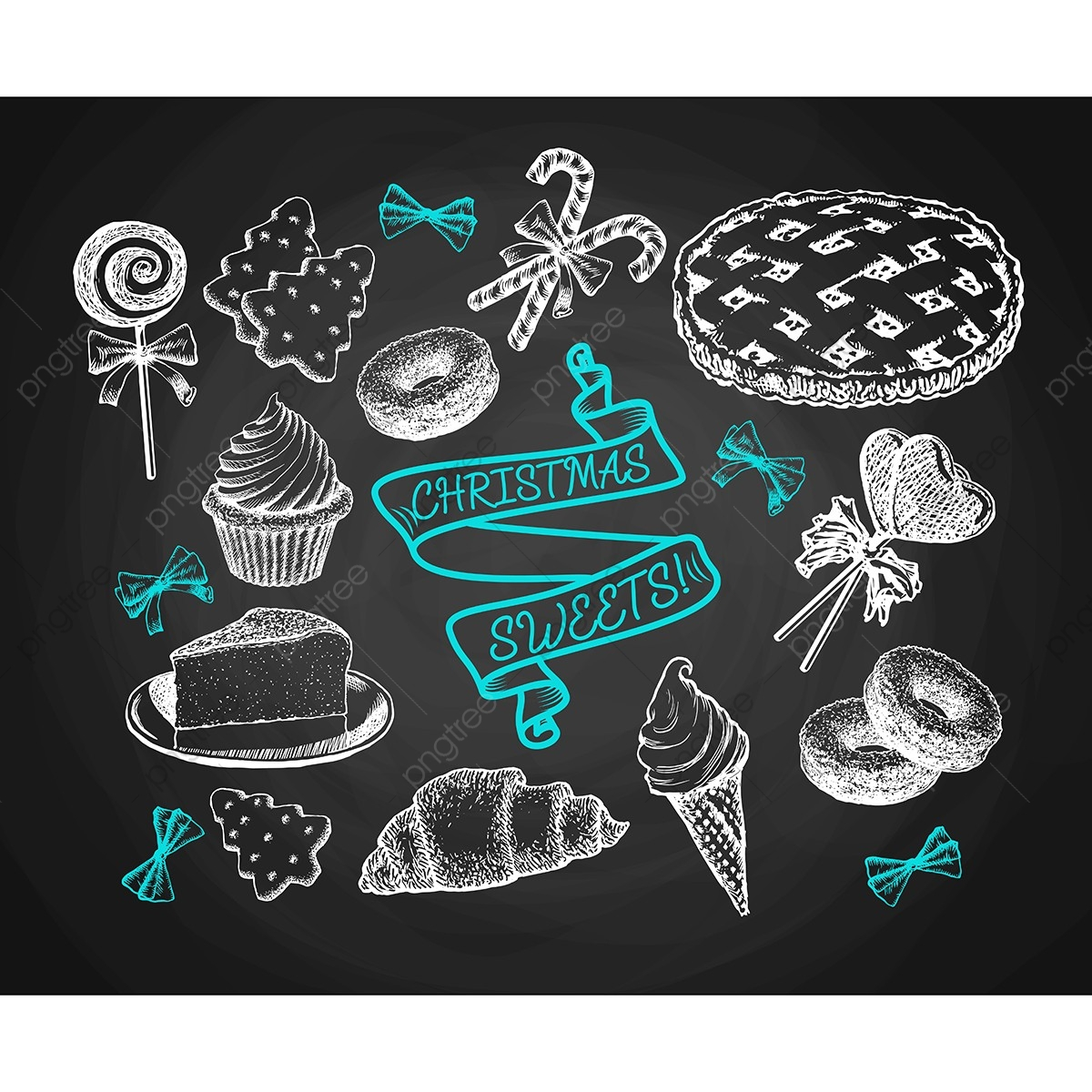 Sweets Set Sketch On Chalkboard Background, Christmas, Sweets.