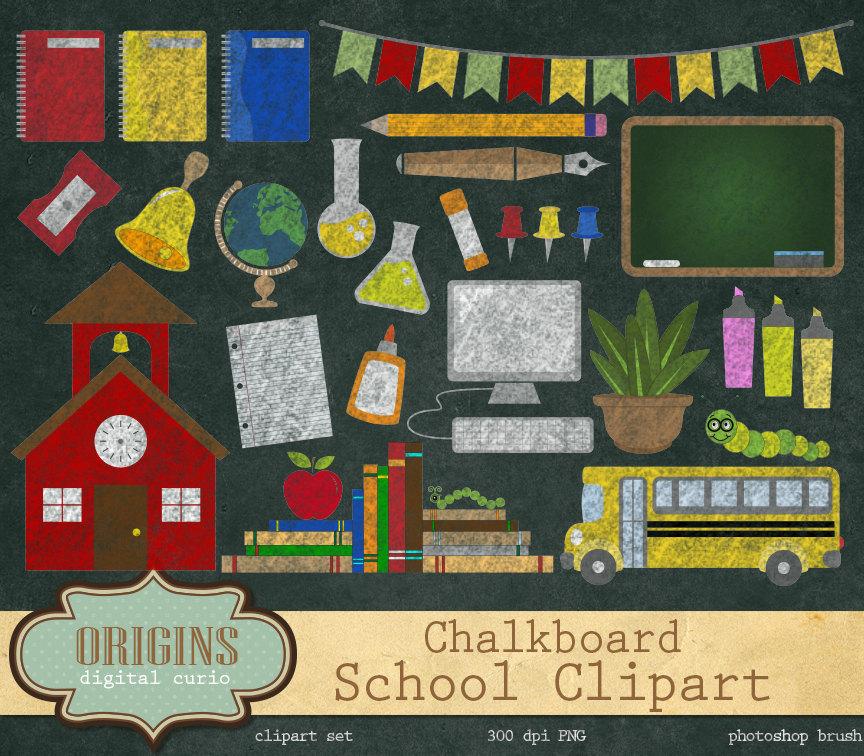 Chalkboard School Clipart 2.