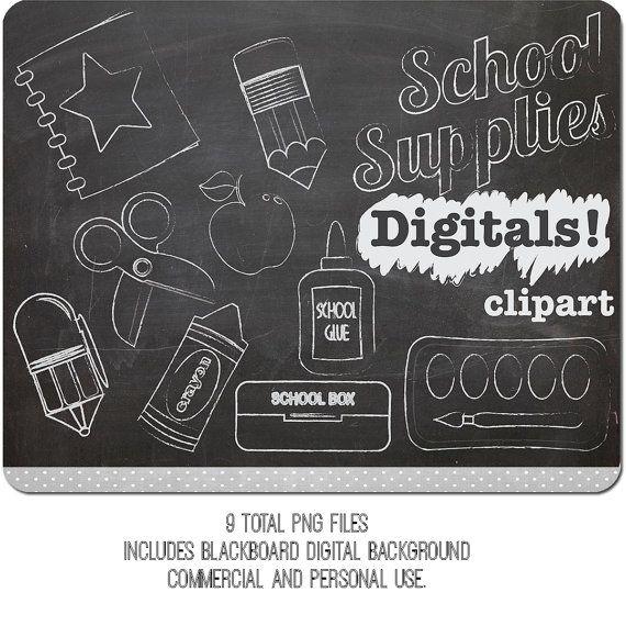 Chalk Clip art School Supplies, INSTANT DOWNLOAD, chalk.