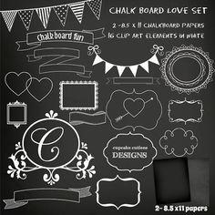 Chalk Floral Borders. 7 Digital Clipart. Hand draw, chalkboard.