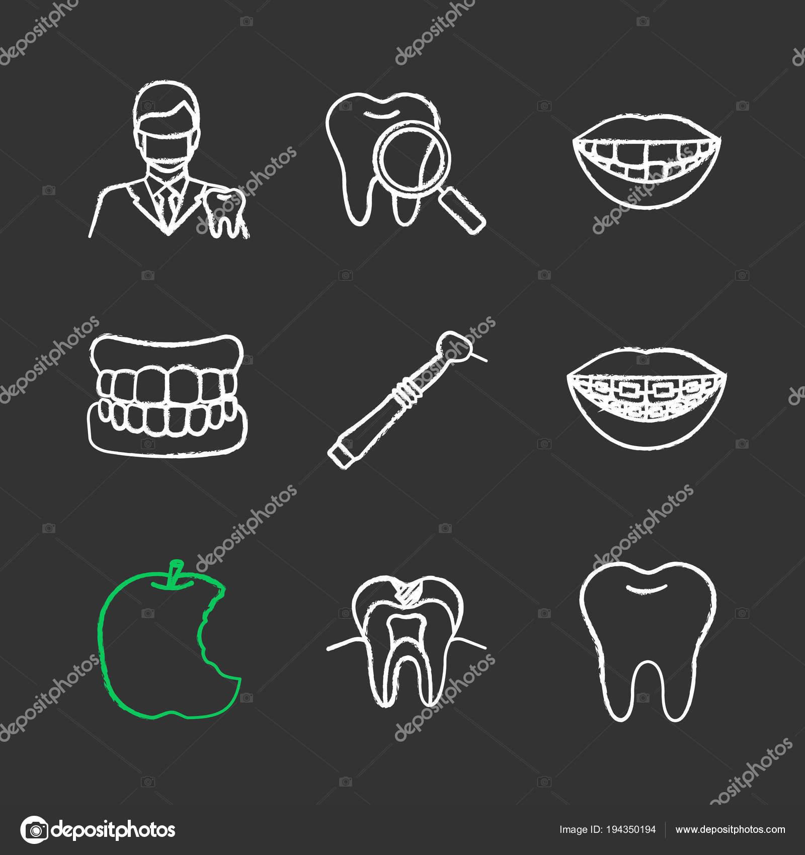 Dentistry Chalk Icons Set Stomatology Dentist Teeth Check Denture.