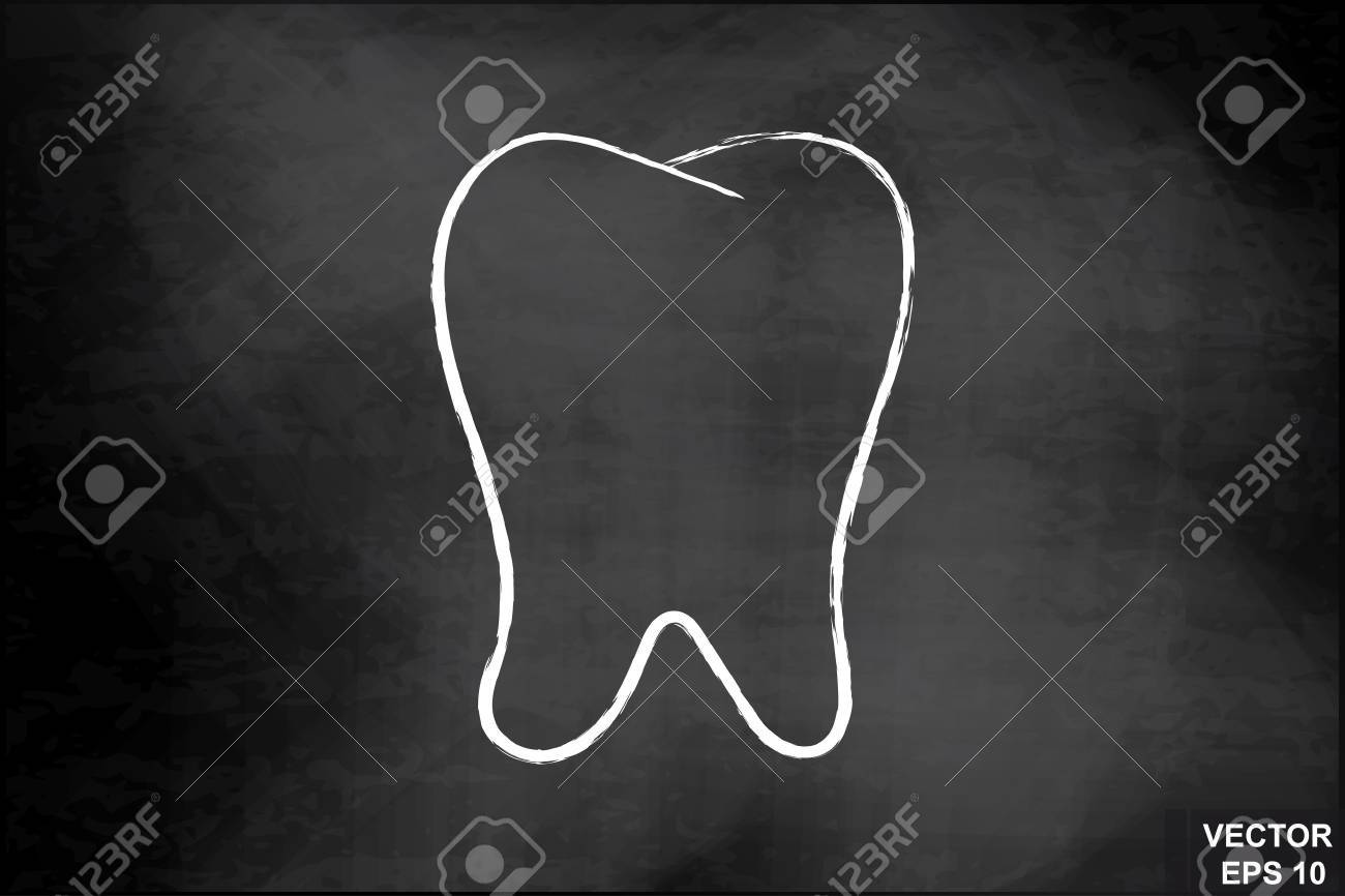 Tooth on the chalkboard. Dentistry. For your design..