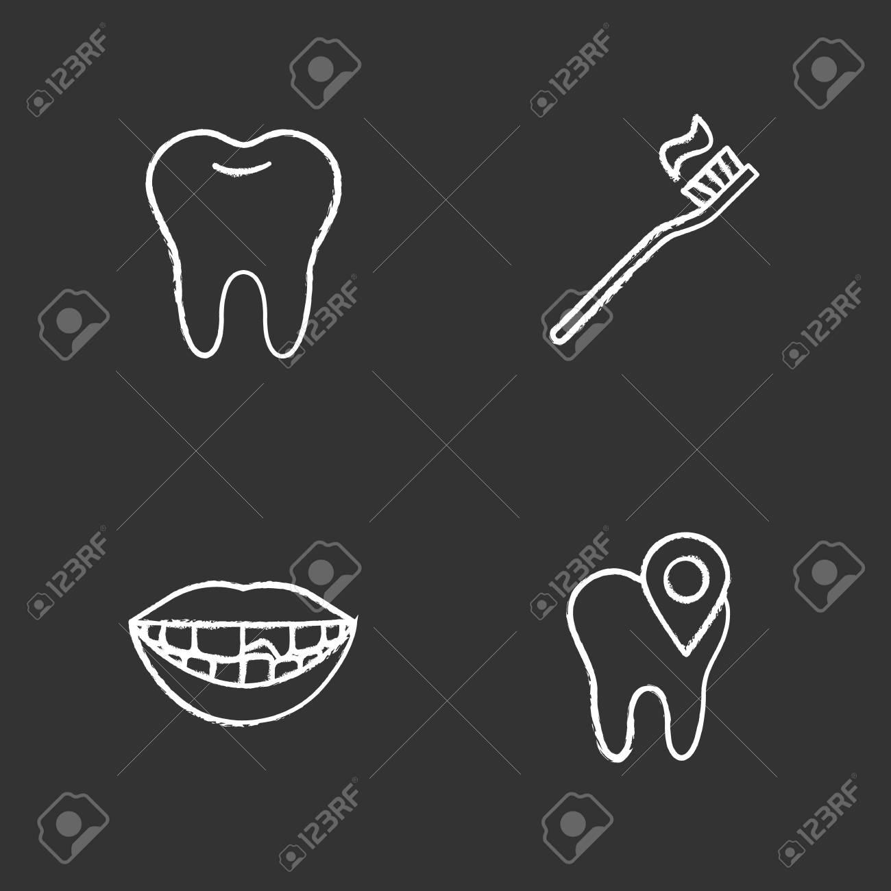 Dentistry chalk icons set. Stomatology. Healthy tooth, dental...