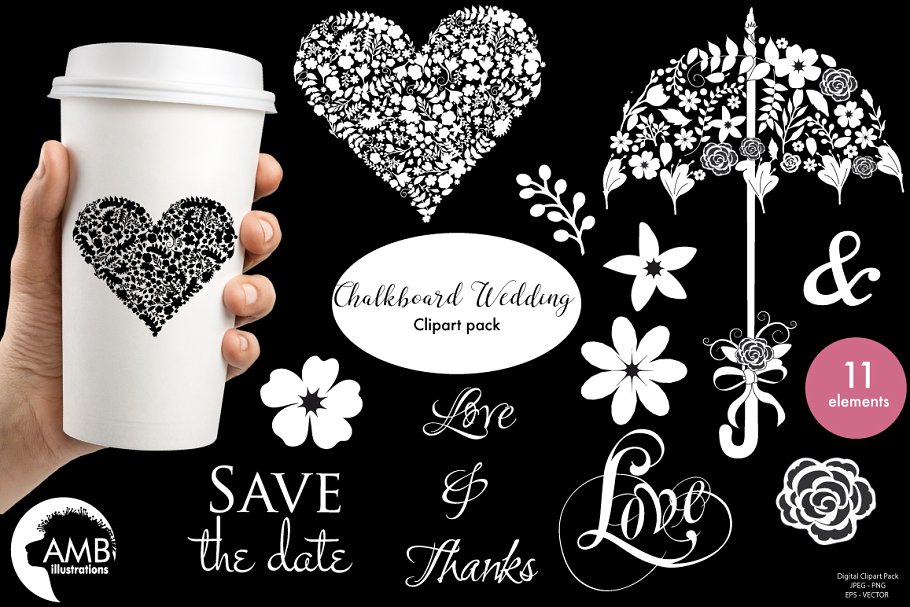 Chalkboard Wedding Clipart 1242 ~ Illustrations ~ Creative.