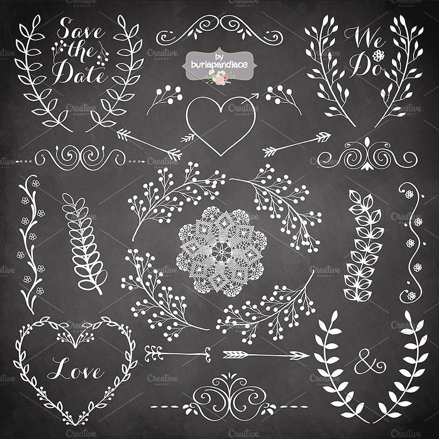 Chalkboard Rustic wedding clipart #laurel#wood#wreath#bridal.