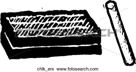 Clip Art of Chalk & Eraser chlk_ers.