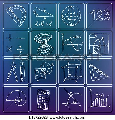 Clip Art of Mathematics chalky icons k18722628.