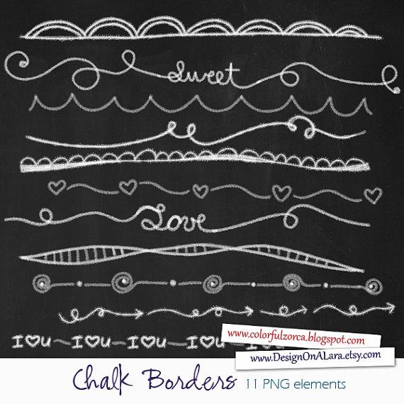 Chalk Borders Chalk Borders Clip Art Digital by DesignOnALara.