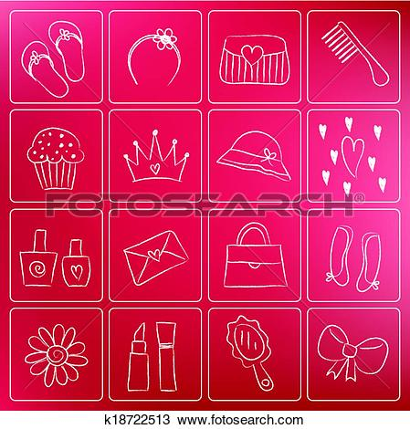 Clipart of Girl accessories chalky doodles k18722513.