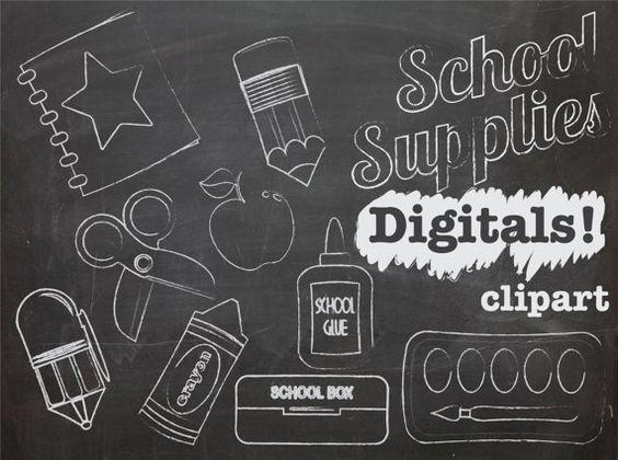 Chalk Clip art School Supplies, Teacher clipart, chalk graphics.