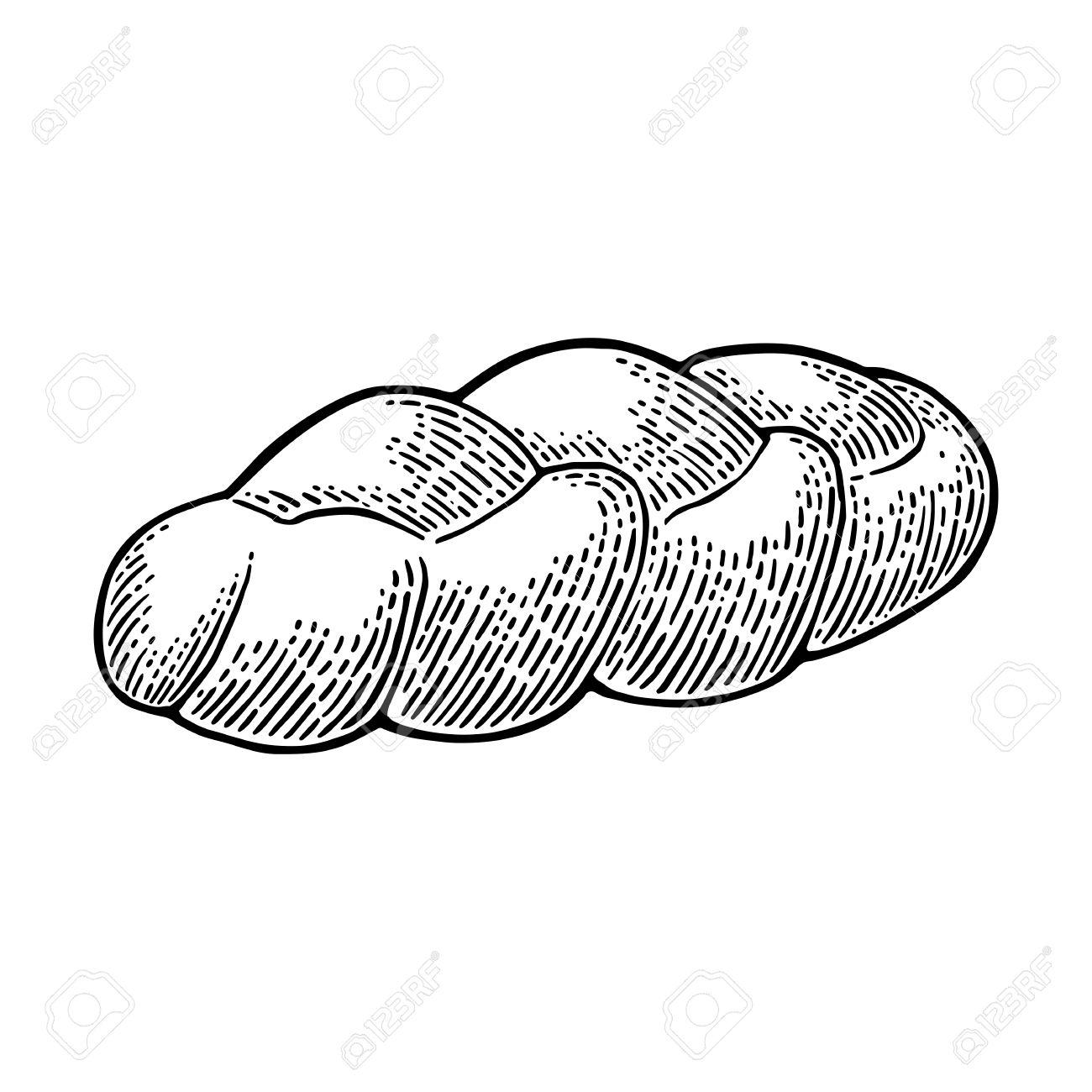 Challah bread. Vector black hand drawn vintage engraving illustration...