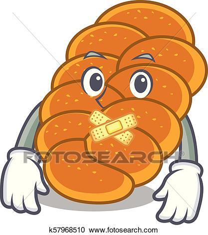 Silent challah mascot cartoon style Clipart.