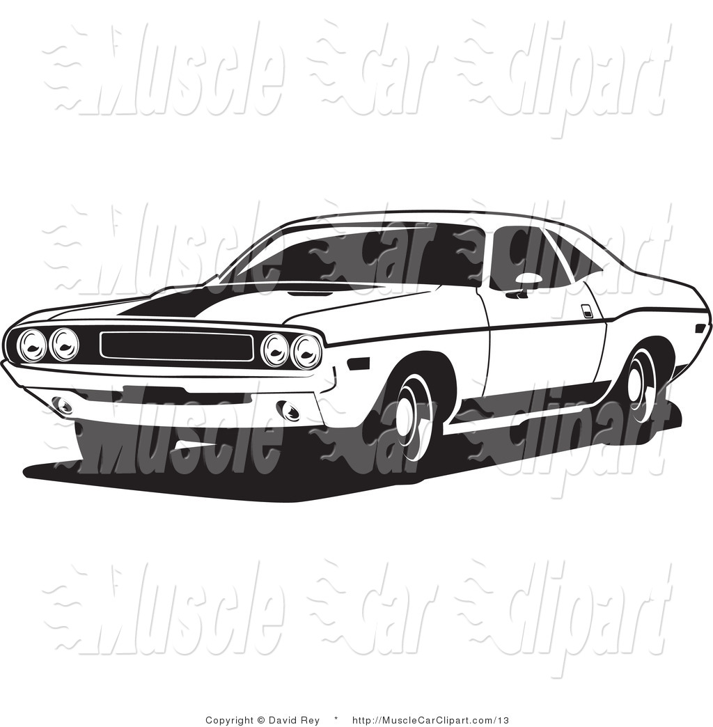 Vector Automotive Clipart of a Black and White1970 Dodge.