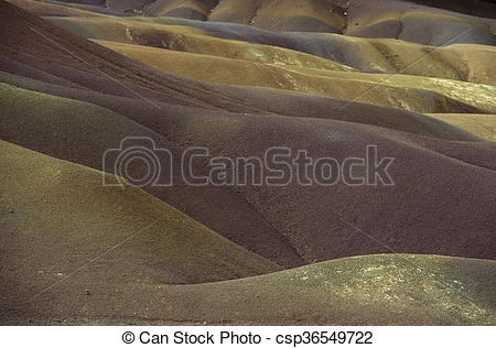 Stock Photo of INDIAN OCEAN MAURITIUS CHAMAREL COLOURED EARTHS.
